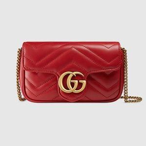 Gucci Calfskin Matelasse Super Mini GG Marmont Bag